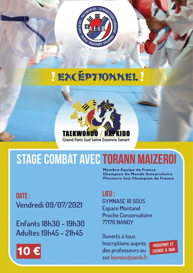 Affiche AEVB Stage combat du 09-07-2021